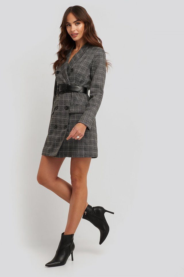 Plaid Double Breasted Blazer Dress Grey Check