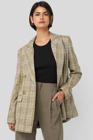 Green Plaid Double Breasted Oversized Blazer