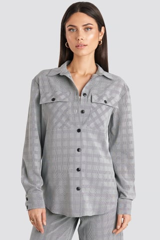 Grey Check Plaid Overshirt
