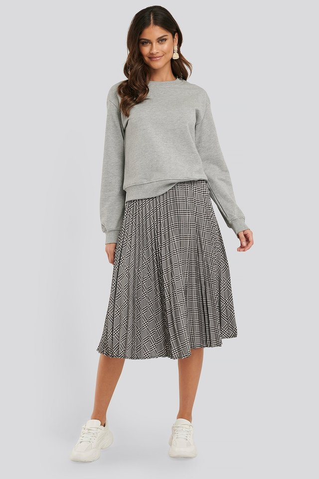Black/White Check Plaid Pleated Midi Skirt