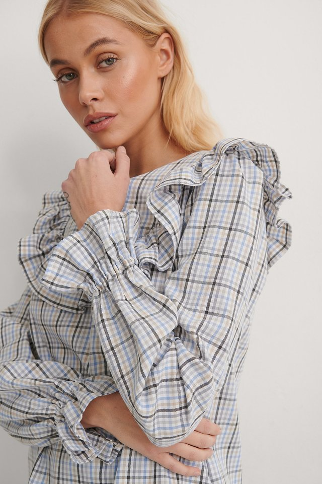 Plaid Plaid Ruffle Blouse