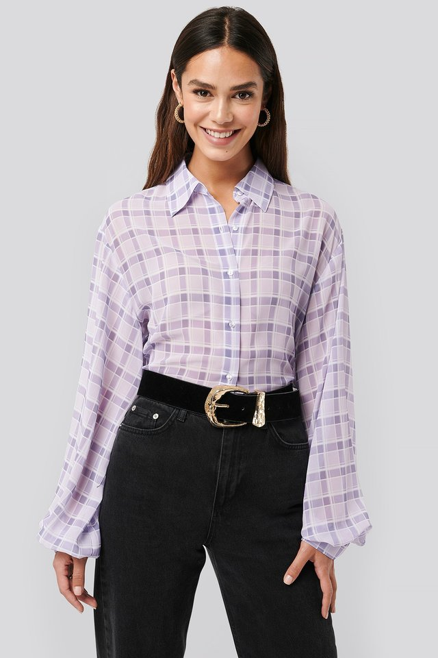 Check Plaid Sheer Blouse