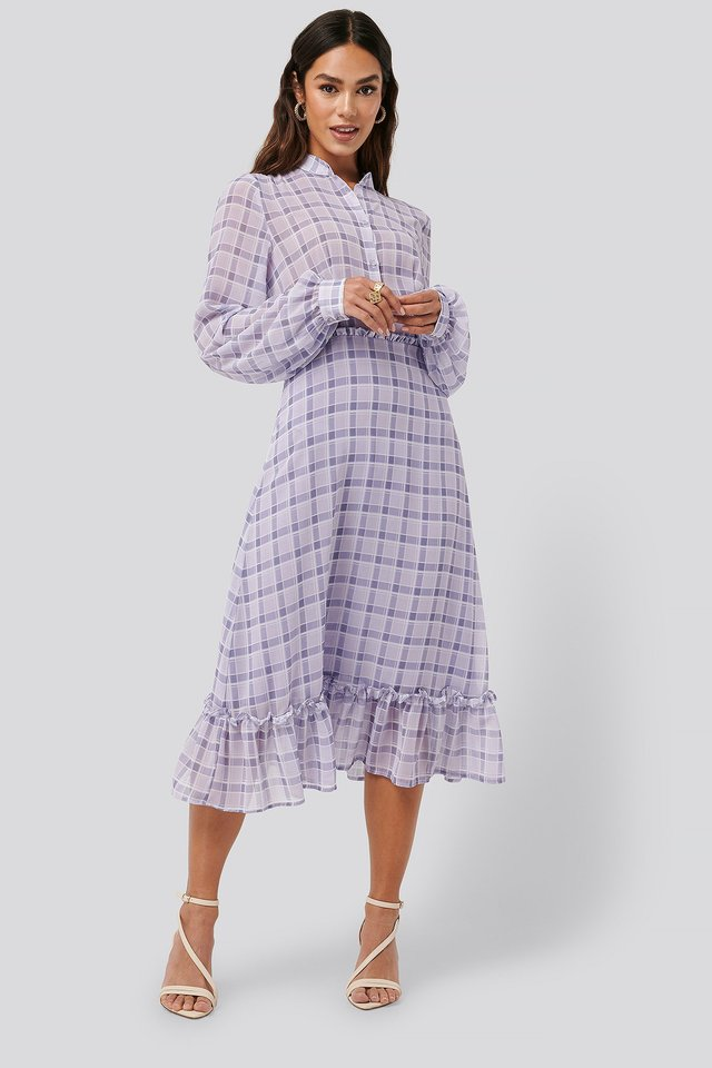 Plaid Sheer Midi Dress Check