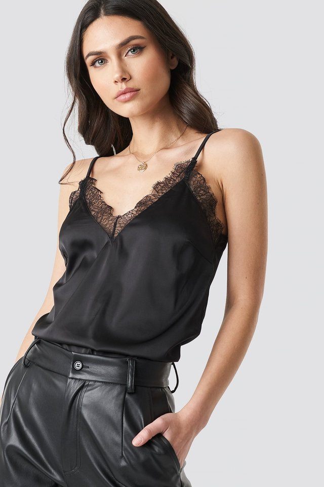 Black Plain Lace Singlet