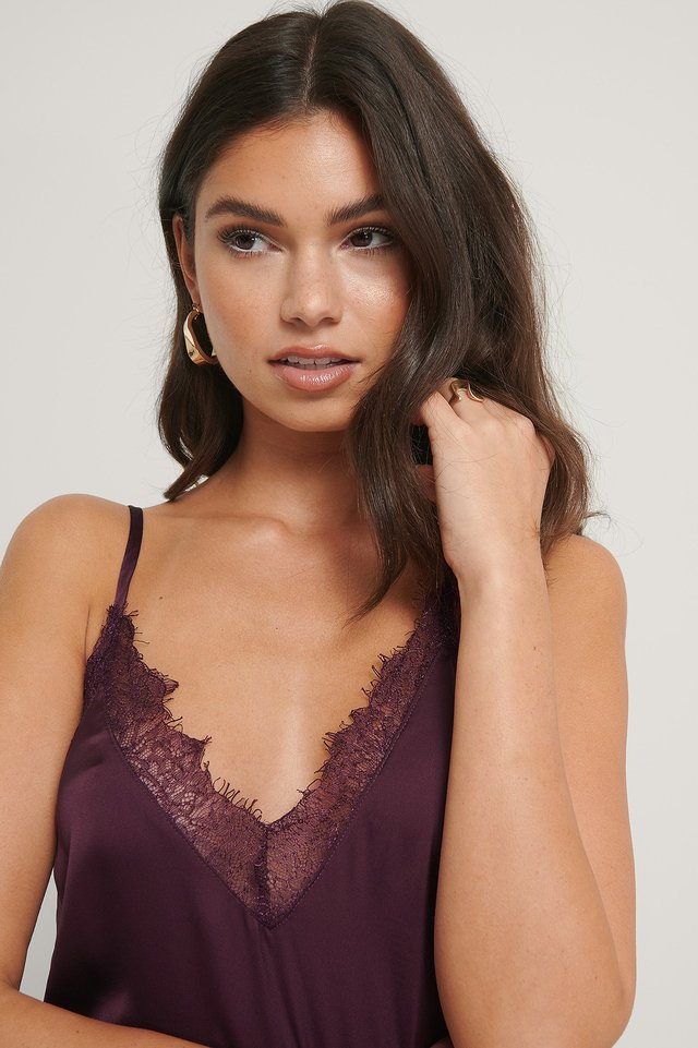 Fig Plain Lace Singlet
