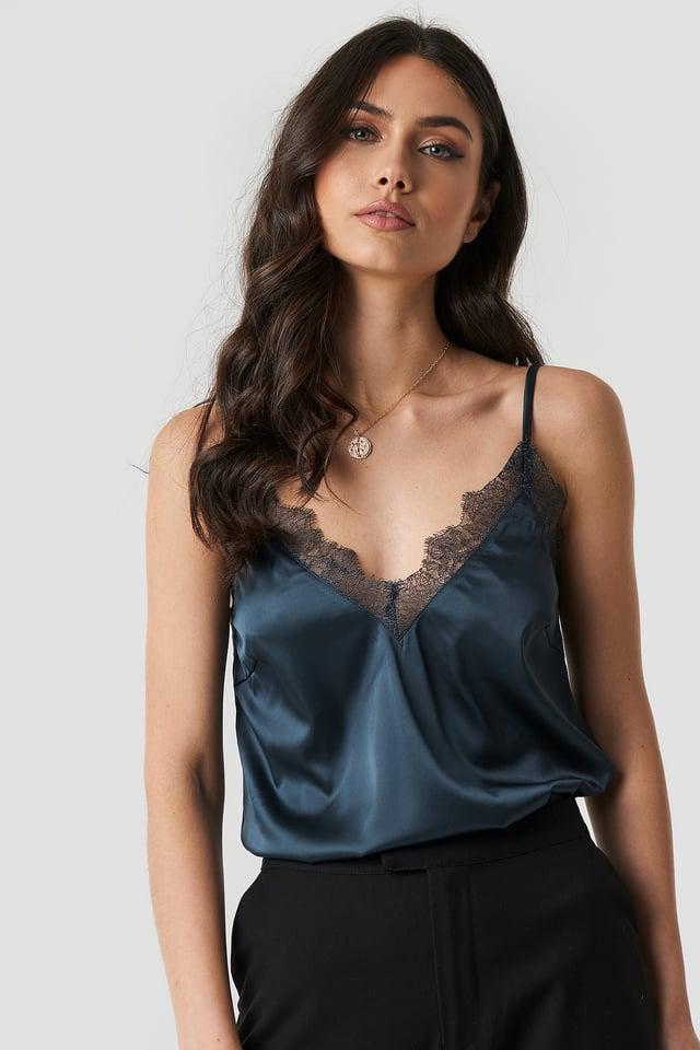 Plain Lace Singlet Dark Blue Grey