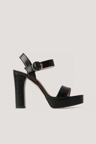 Black Platform High Heel Sandals