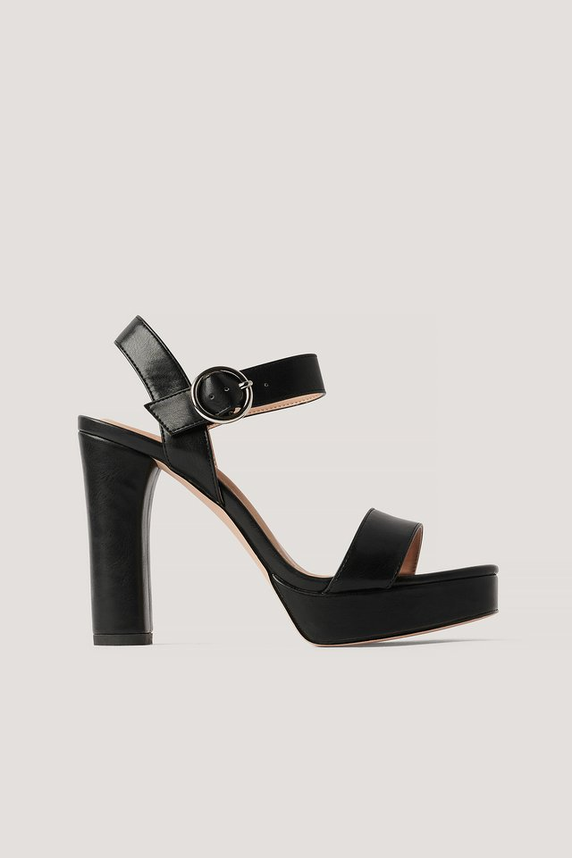 Black Platform High Heel Sandals