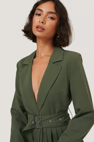Dark Green Blazer Med Bälte Och Veckdetaljer