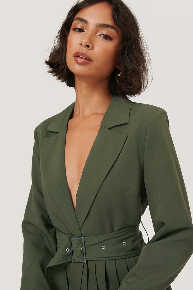 Dark Green Pleat Detail Belted Blazer