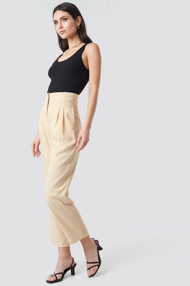 Pleat Detail High Waist Pants NA-KD Trend