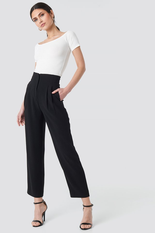 Black Pleat Detail High Waist Pants