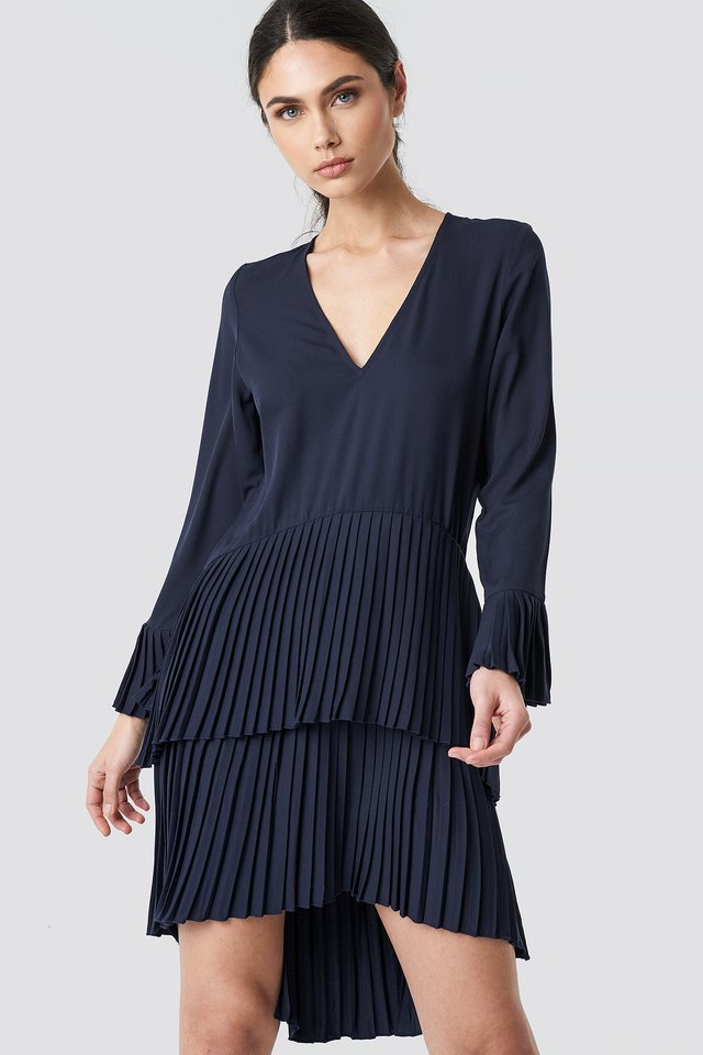 Dark Blue Pleat Detail Layered Mini Dress