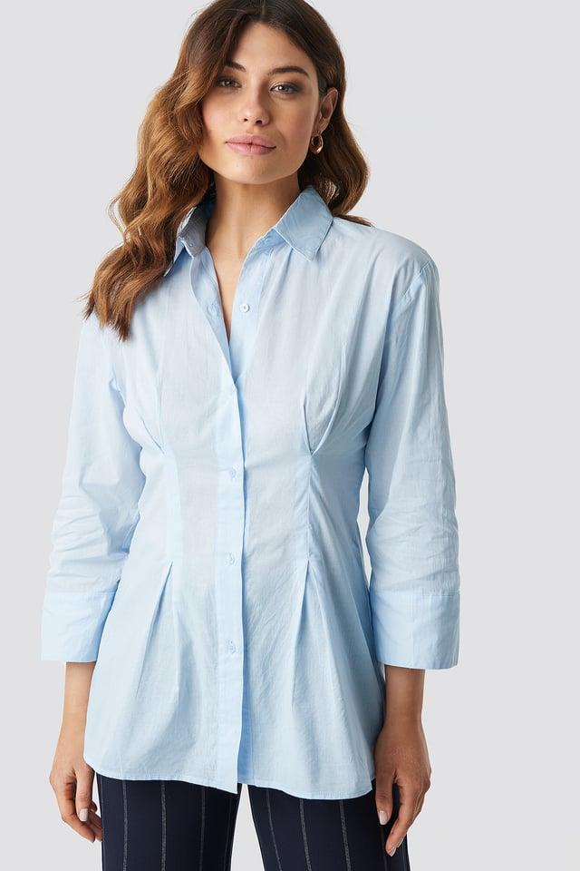 Light Blue Pleat Detail Oversized Shirt