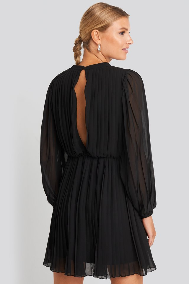 Pleated Balloon Sleeve Mini Dress Black