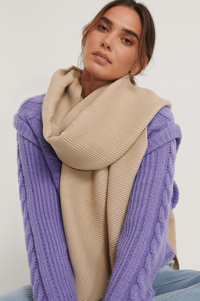 Pleated Blanked Scarf Light Beige