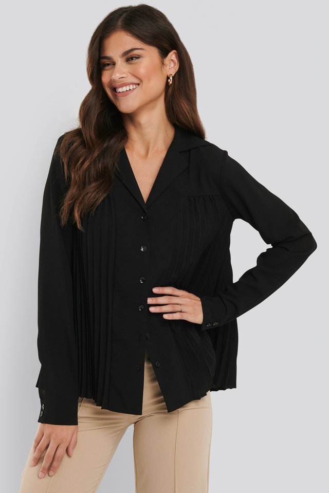 Pleated Blouse Black