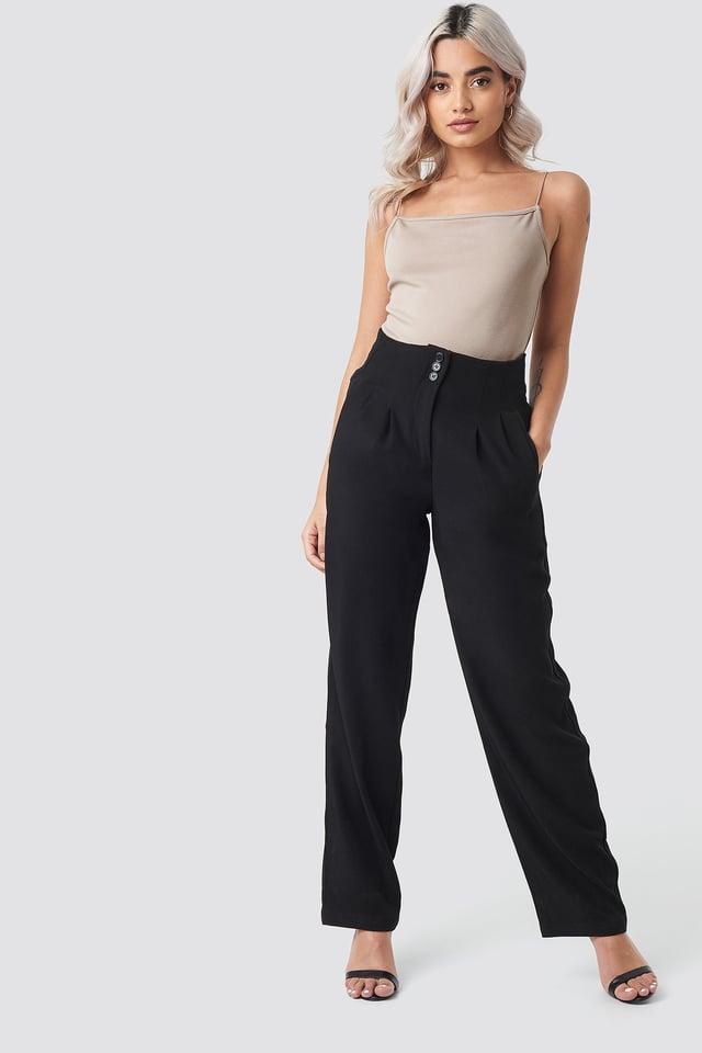 Black Pleated Buttoned Suit Pants