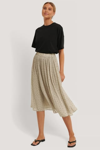 Cream Pleated Dotted Skirt