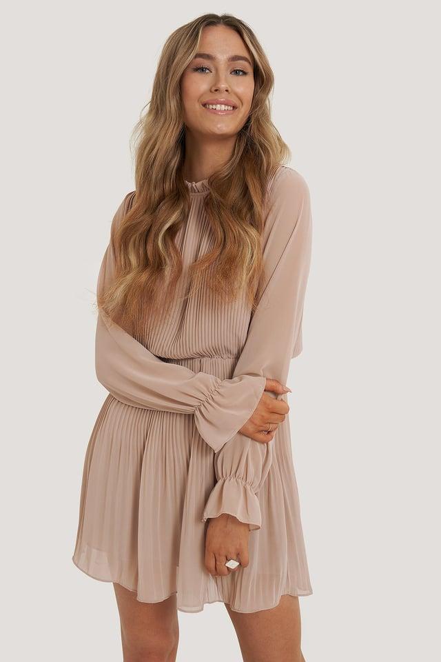 Plissert Kjole Med Elastisk Midje Dusty Pink