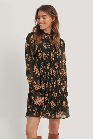 Black Flower Print Pleated Elastic Waist Dress