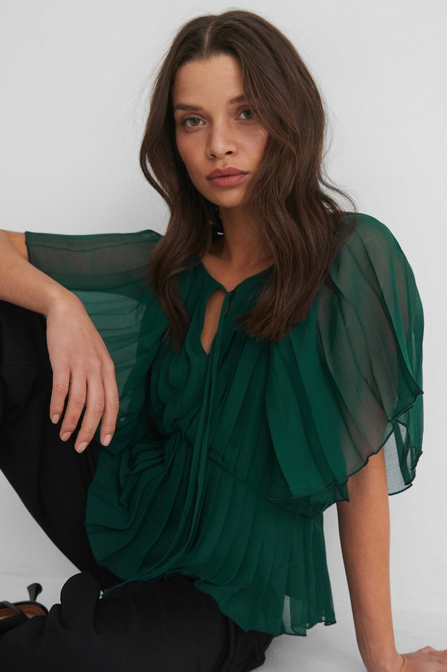 Emerald Pleated Kaftan Top