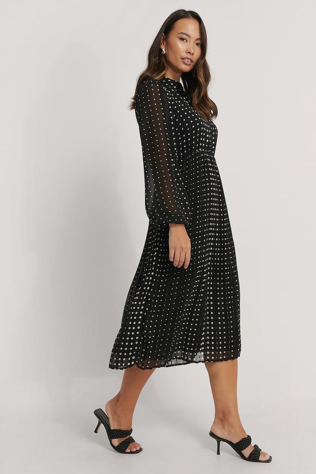 Pleated LS Shirt Dress Black/White dots