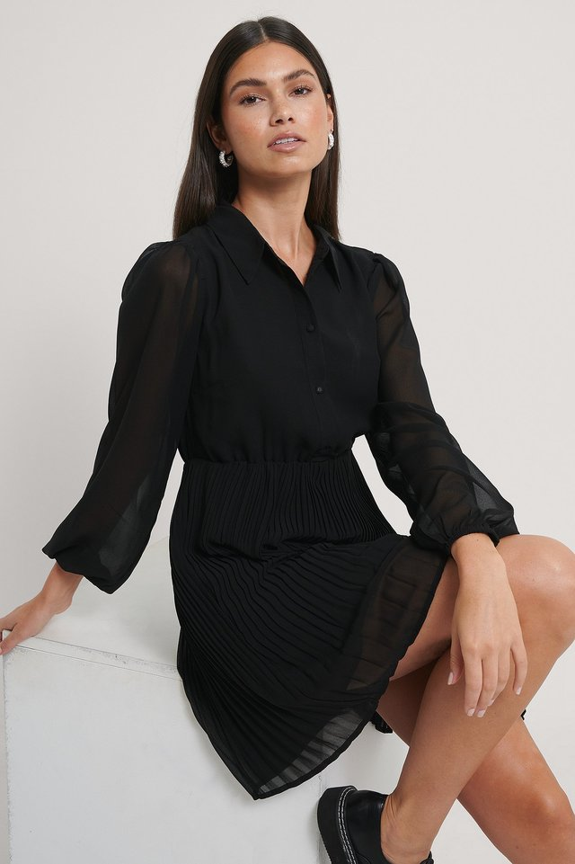Pleated LS Shirt Mini Dress Black