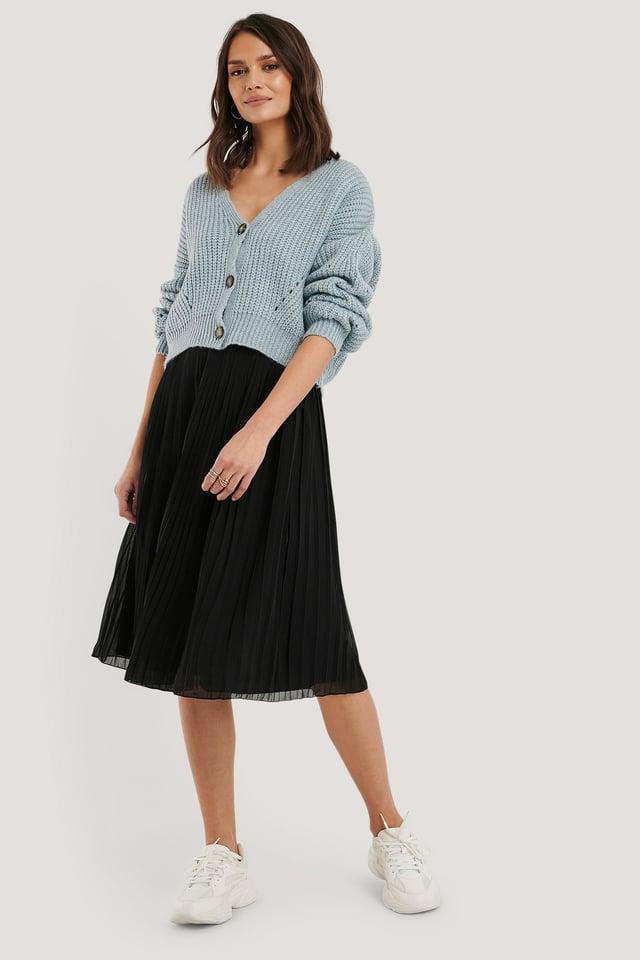 Pleated Midi Skirt Black