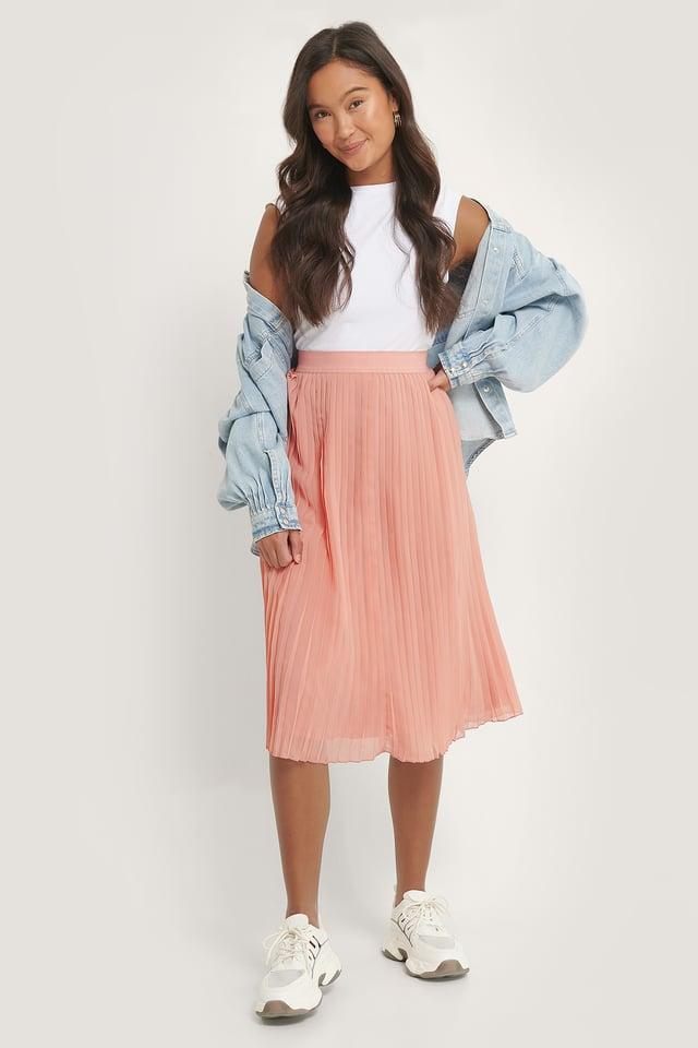 Pleated Midi Skirt Pink