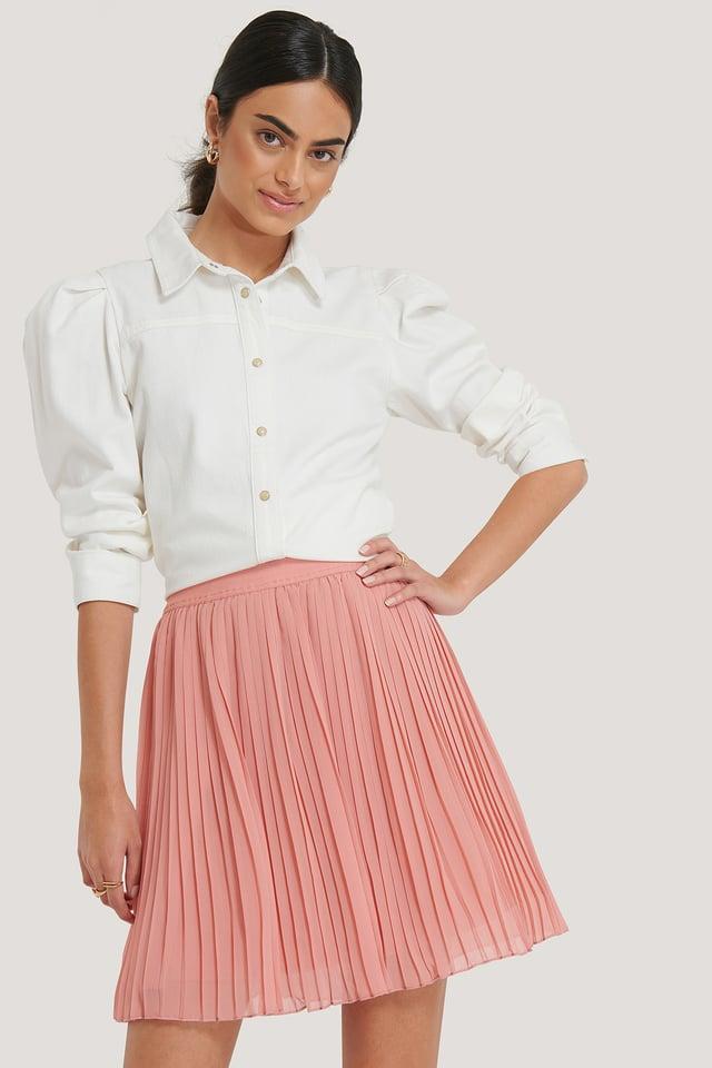 Pink Plisserad Minikjol
