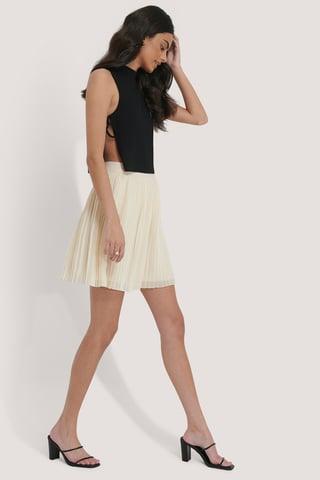 Off White Pleated Mini Skirt