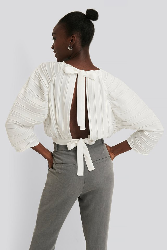 Pleated Open Back Top White