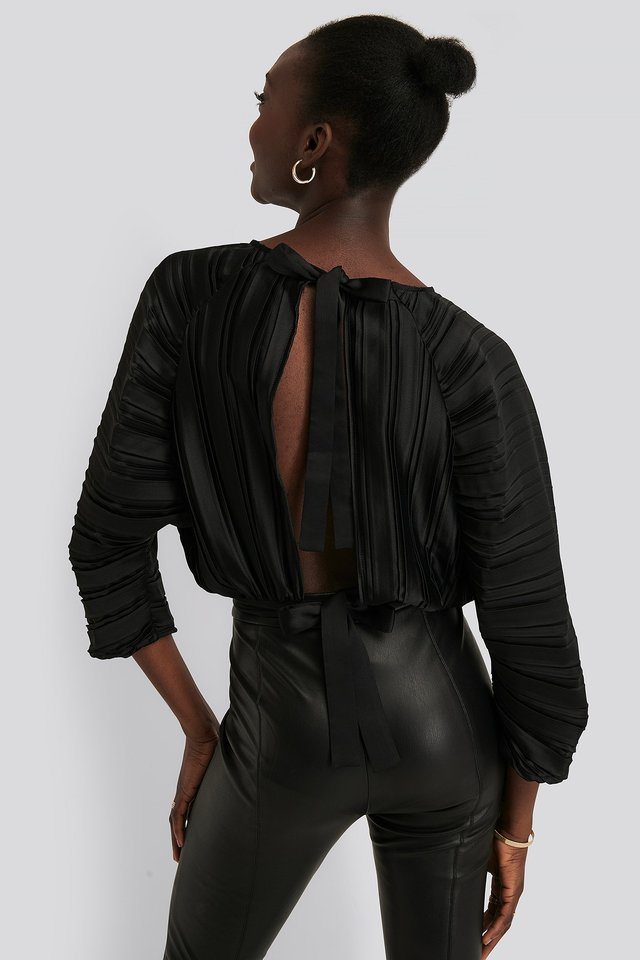 Pleated Open Back Top Black