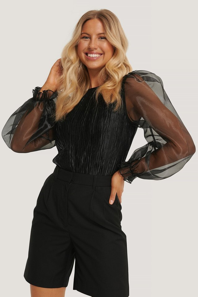 Black Pleated Organza Sleeve Blouse
