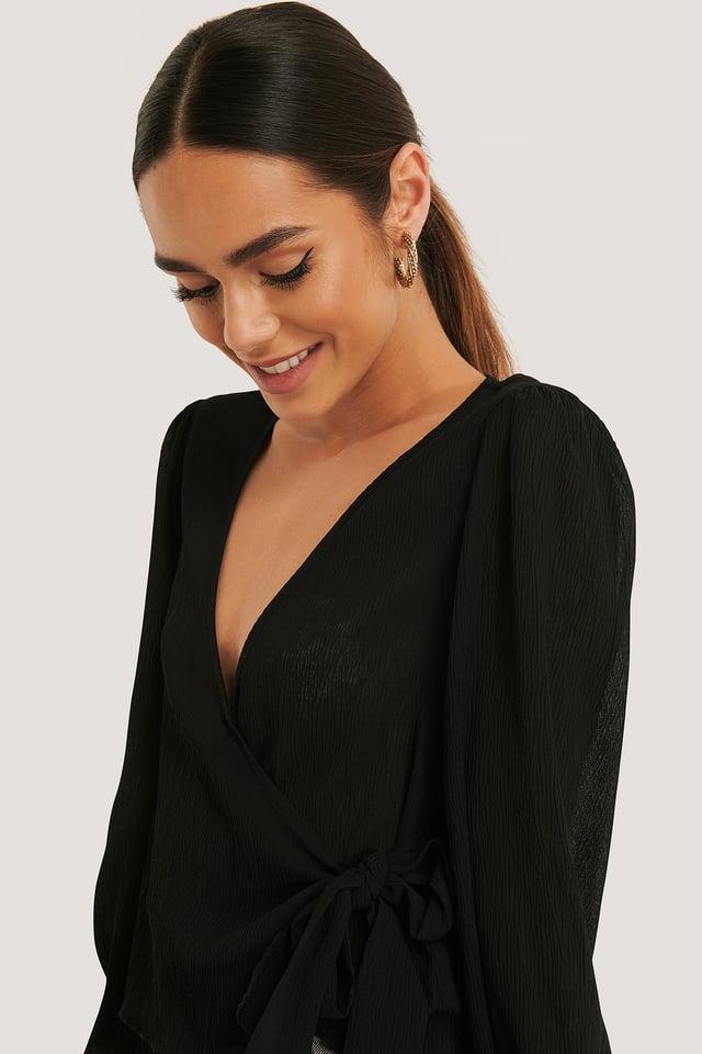 Bluzka Plisowana Black