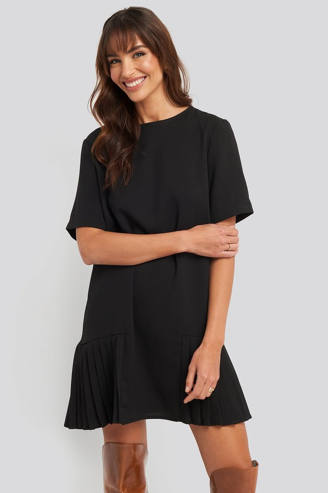 Pleated Panel Mini Dress Black
