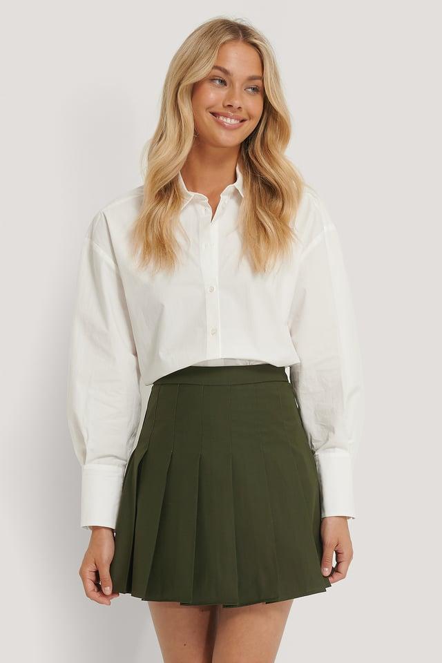 Pleated Short Skirt Dark Green
