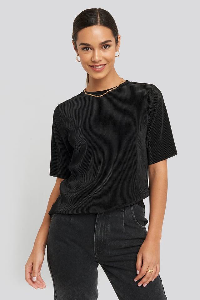 Pleated Short Sleeve Top Black