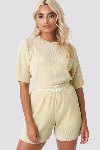 Cream Pleated Shorts