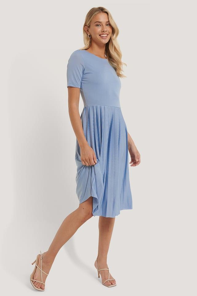 Pleated T Dress Light Blue