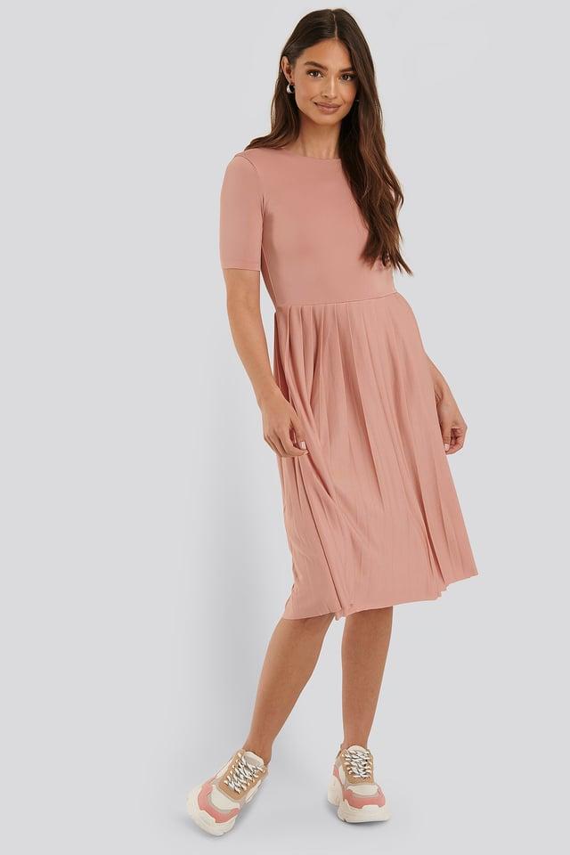 Pleated T Dress Dusty Pink