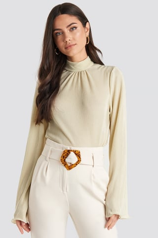 Cream Pleated Wide Sleeve Top