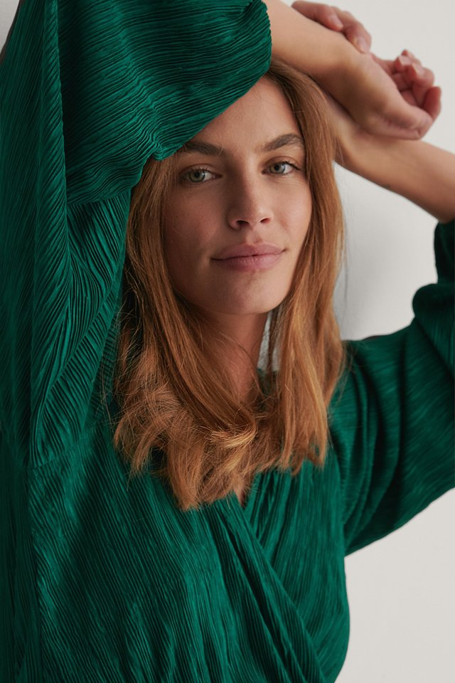 Green Pleated Wrap Top