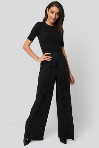 Black Plisse Wide Leg Pants