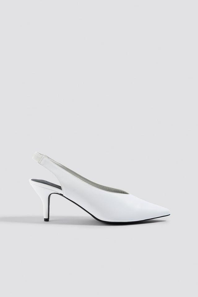White Plunge Kitten Heels White