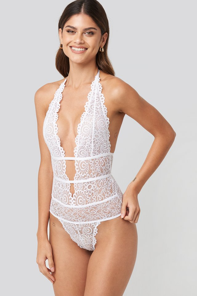 Plunge Lace Bodysuit White