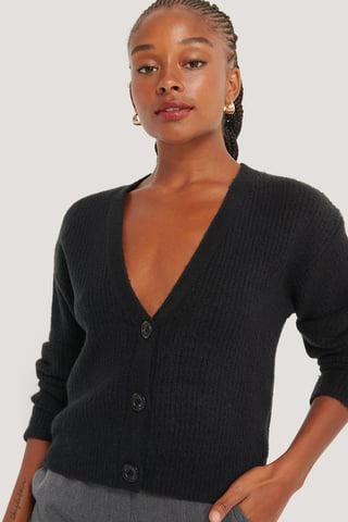 Black Plunge Neck Cardigan
