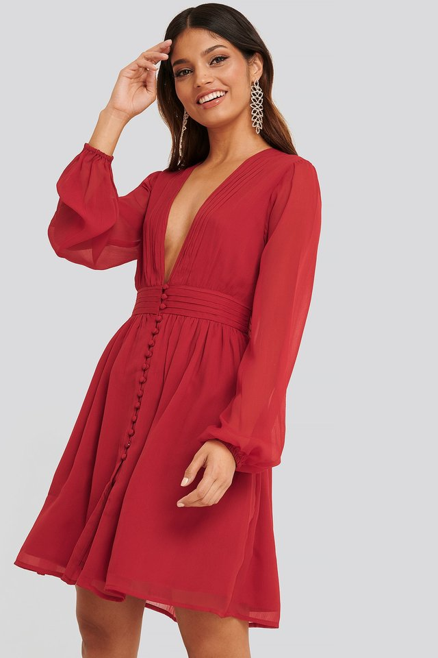 Plunge V-Neck Mini Dress Dark Red