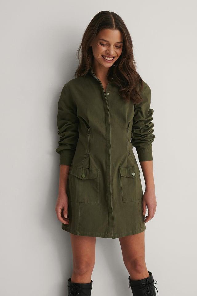 Dark Green Pocket Detail Fitted Waist Dress